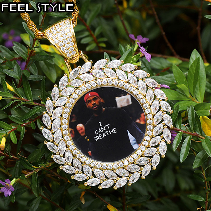 Hip Hop Round Custom Photo Medallions Iced Out Bling Solid Back AAA Cubic Zircon Personalized Necklace & Pendant For Men Jewelry