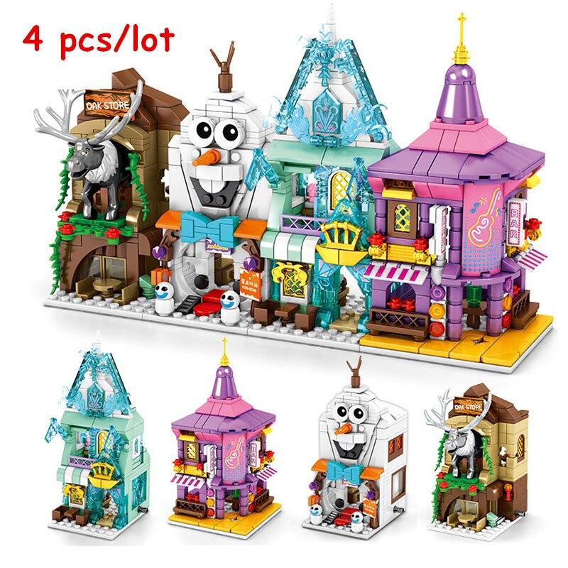 Kit de bloques de construcción para tienda de princesas Frozeninglys de 4 Uds., modelo clásico de película, juguetes para niños y amigos, regalo para niños