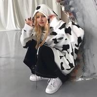 streetwear harajuku tops autumn hoodies women white sweet white cow fashion womens casual high street winter loose sweatshirts
