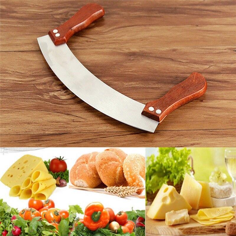 Vegetable Pizza Herb Mezzaluna Cutter Slicer Chopper Blade Cutting Chopping Tool Baking Tool Patisserie Accessoire Hedahlia /