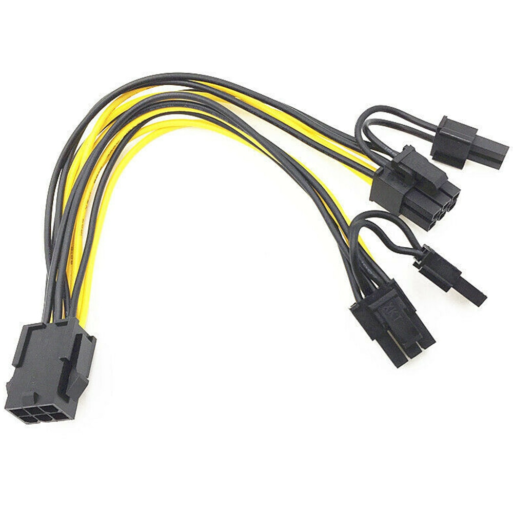 pci e 6 pin female to dual 2 port 8 pin 6 2 pin male gpu video card power adapter cable for graphics card 5/10pcs PCI-E 6-pin to Dual 6+2-pin (6-pin/8-pin) Power Splitter Cable Graphics Card PCIE PCI Express Power Cable