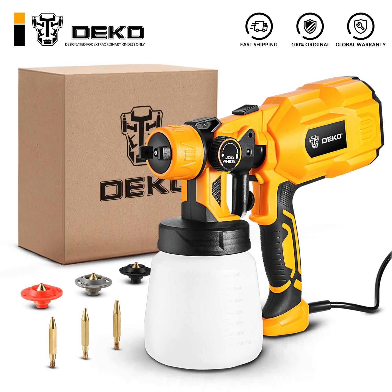 DEKO 220V Spray Gun 550W High Power Electric Paint Sprayer, 3 Nozzle Easy Spraying