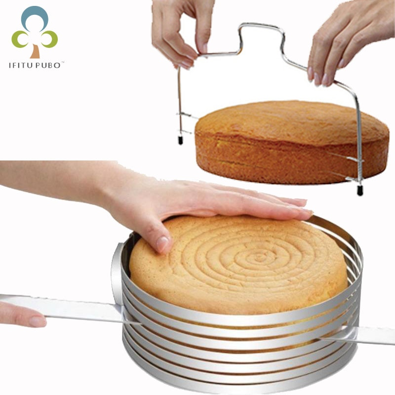 Acero inoxidable tamaño ajustable retráctil capas pan rebanada pan rebanador doble línea torta rebanada Layerer herramienta para hornear LXX