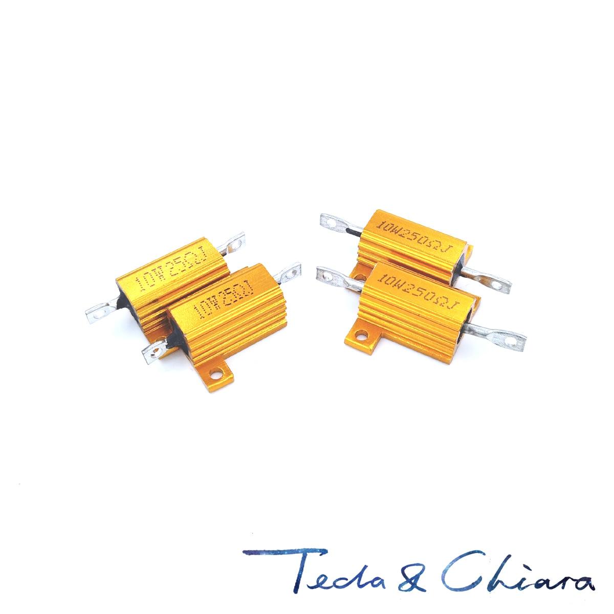 100R 100 100ohm 10R 10 10ohm R Ohm 10W vatios tono dorado bobinado aluminio potencia carcasa de Metal resistencia RX24