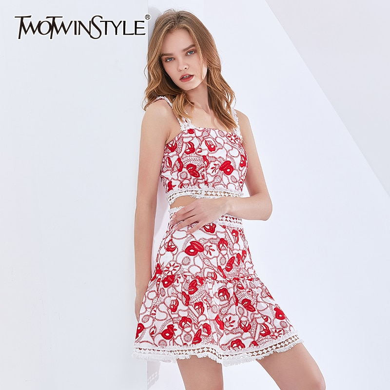 TWOTWINSTYLE Print Patchwork Lace Set For Women Square Collar Sleeveless Tank Tops High Waist A Line Skirts Sexy Sets Female New