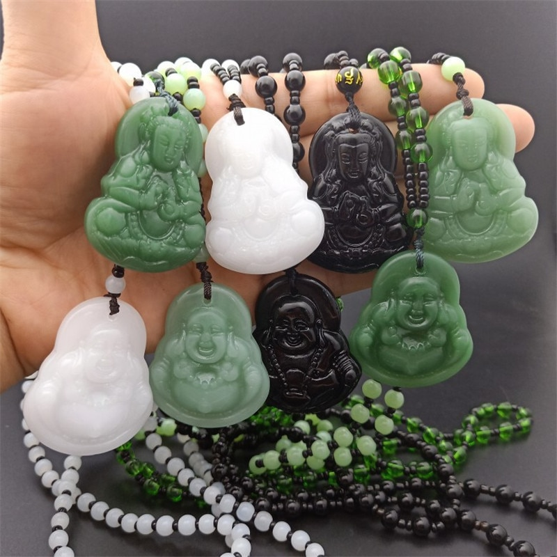Natural Stone Black Obsidian Carved Buddha Lucky Amulet Pendant Necklace Fine Jewelry for Women Men Sweater chain Pendants