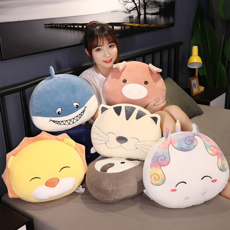 Nice Sweet Cat&Pig&Whale&Horse&Shark Kawaii Plush Toy Soft Cute Cartoon Lion Stuffed Doll Baby Pillow Gift Kids Birthday Toys  - buy with discount
