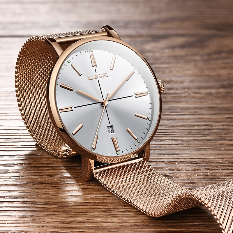 Genuine LIGE Creative Watch Women Stainless Steel Waterproof Watch Super Slim Mesh Belt Clock Ladies Gift Watch Relogio Feminino enlarge
