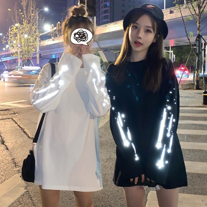 Nice! INS Heißer Reflektierende Meteor Print Oversize T hemd Frauen Männer Freundin Harajuku Lange Ärmeln T Street Paar Kleidung