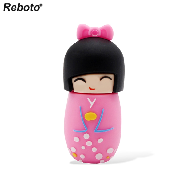 Dibujos Animados memoria extraíble lindas muñecas japonesas Kimono Girl 64GB 32GB 16GB 8GB unidad Flash disco U Mini Pendrive regalo creativo