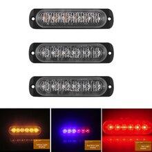 DERI Ultra dünne Strobe Warnung Licht Flash-Alarm Lampen 6 LED Bernstein Auto Lkw Notfall Seite Marker Notfall DRL Signal