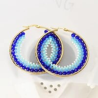 bohemian blue acrylic rice bead hoop earrings real gold plated national costume jewelery sparkling earrings for women wedding