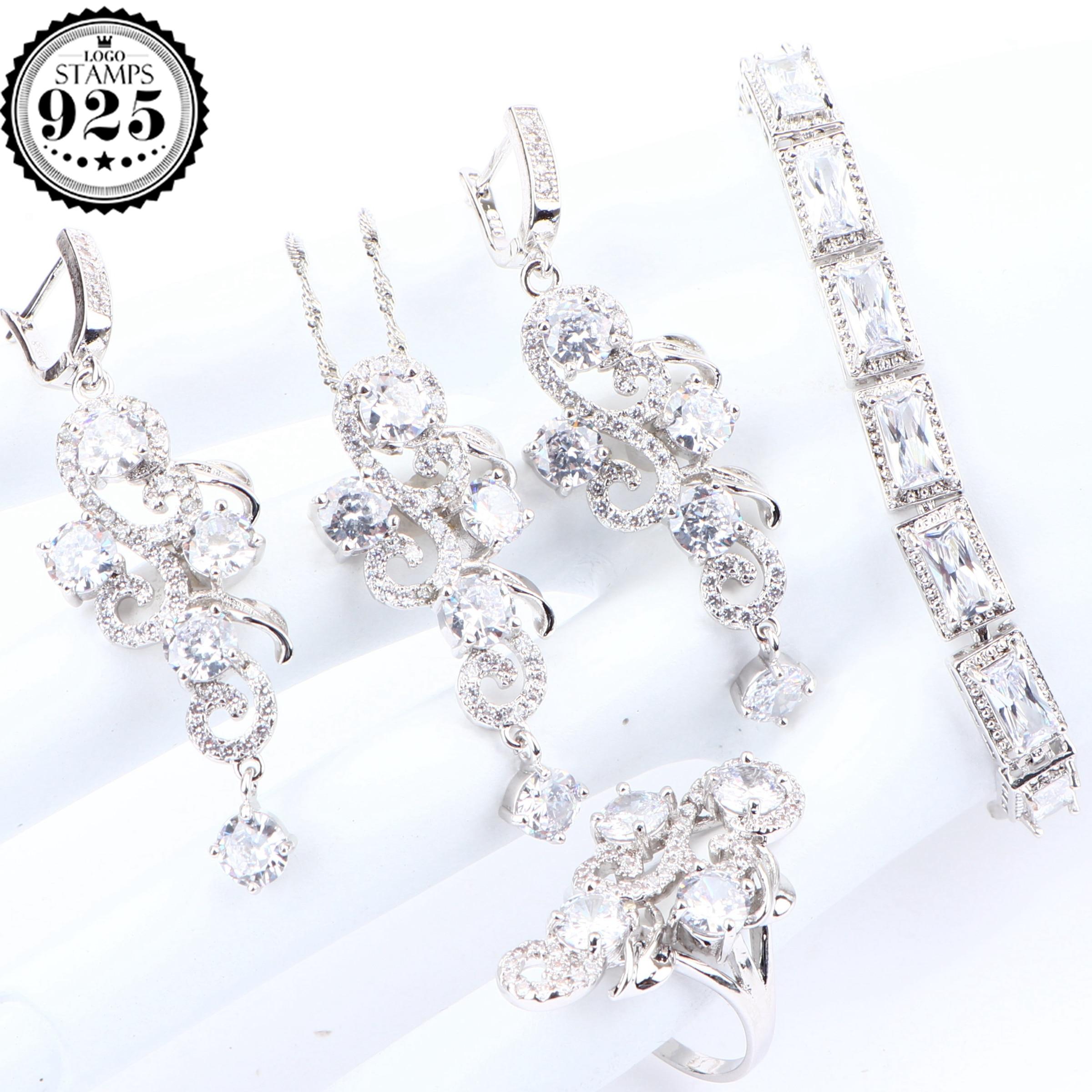 Conjuntos de joyería nupcial 925 de plata de Zirconia blanca para mujer, pendientes de boda, conjuntos de collar con colgante, pulseras, anillos, joyería