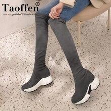 TAOFFEN 2020 Sur Bottes Au Genou Femmes Décontracté Bottes Stretch Hauteur Augmentation Femmes Chaussures Automne Hiver Longue Chaussures Taille 34-43