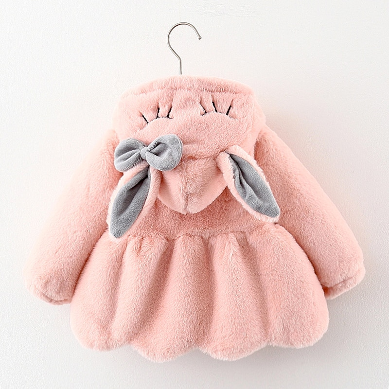 Cute Rabbit Ears Plush Baby Jacket Christmas Sweet Princess Girls Coat Autumn Winter Warm Hooded Out