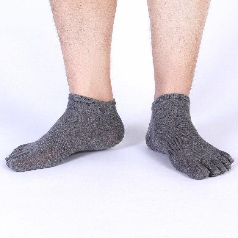 Мужские хлопковые носки с пальцами, однотонные черные, белые носки до щиколотки с пятью пальцами, короткие низкие носки для мальчиков, повсе...