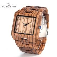 BOBO oiseau nouveauté hommes montre L24 zèbre en bois montre hommes de luxe marque conception tout bois Quartz montre-bracelet dans boîte-cadeau
