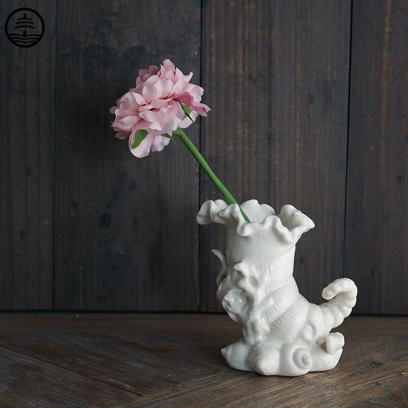 Vaso de Armazenamento Decoração para Casa Guang Nordic Criativo Concha Modelagem Arte Flores Secas Organizando Animal Cerâmica Artesanato R6539 Bao ta