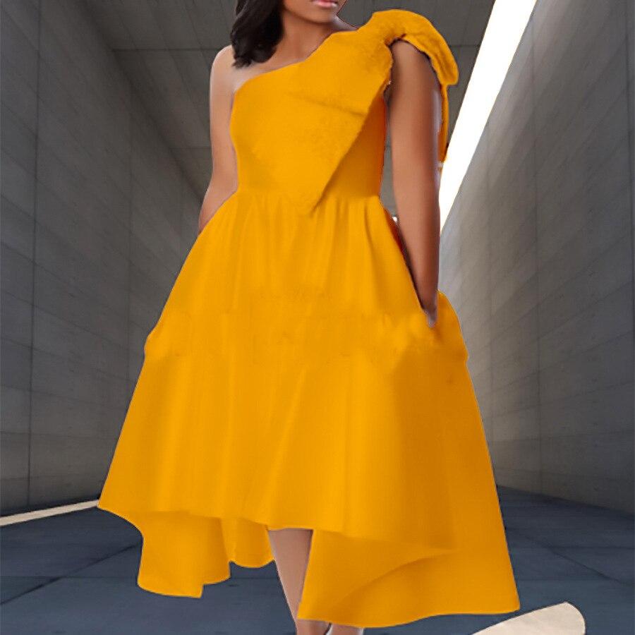 Women's Dress African Solid Color Off-Shoulder Oblique Shoulder Bow Summer New Unique Design Elegant