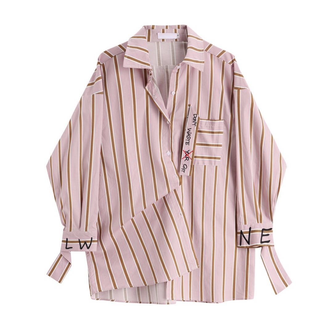 2020 New Spring Autumn Lapel Long Sleeve Red Striped Printed Letter Big Size Shirt Women Blouse Fashion Tide Harajuku Sweet Tops