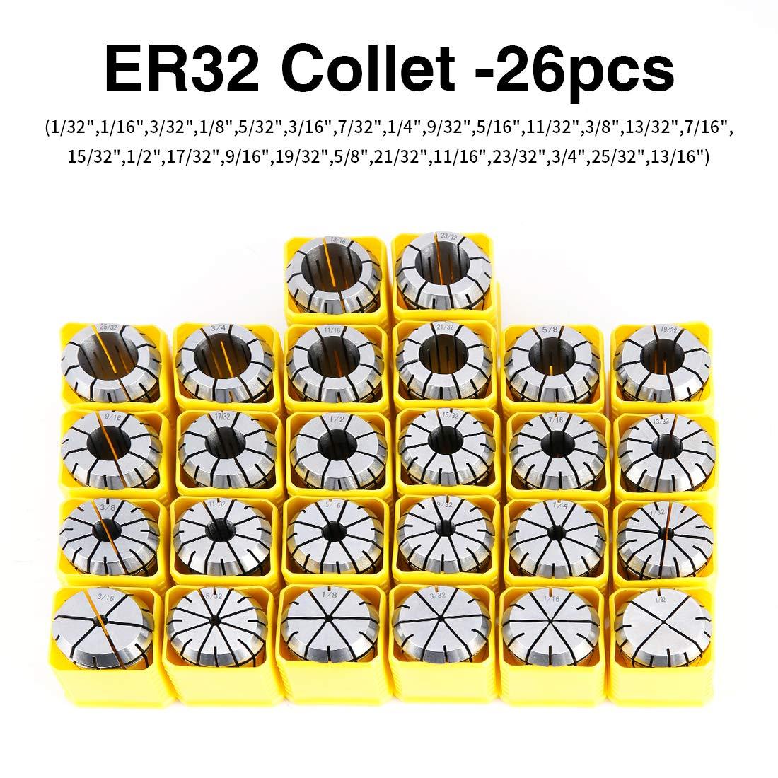 ER32 Spring Collet Set for CNC Engraving Machine and Milling Lathe Tool Workholding Engraving Collets(26PCS) enlarge