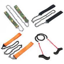 Scie à chaîne de poche extérieure tronçonneuse pliable outil de coupe darbre de jardin Camping randonnée survie durgence scie à chaîne en acier