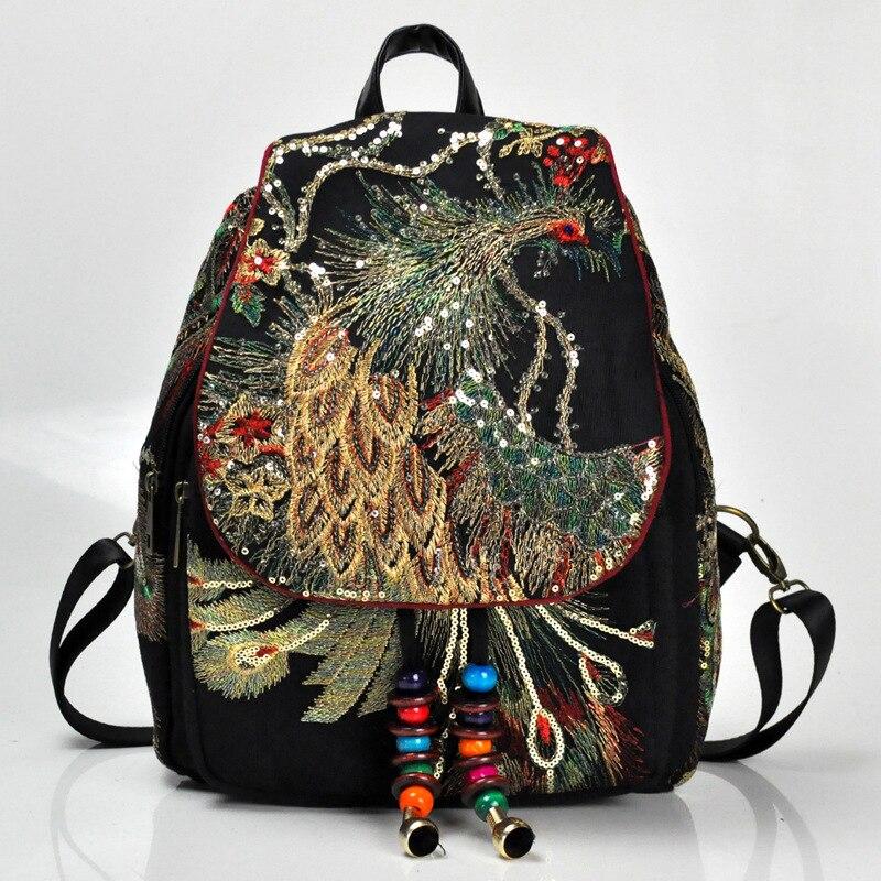 Vintage floral peônia étnica bordado bolsas femininas lona mochila viajar mochila china bordado 2020
