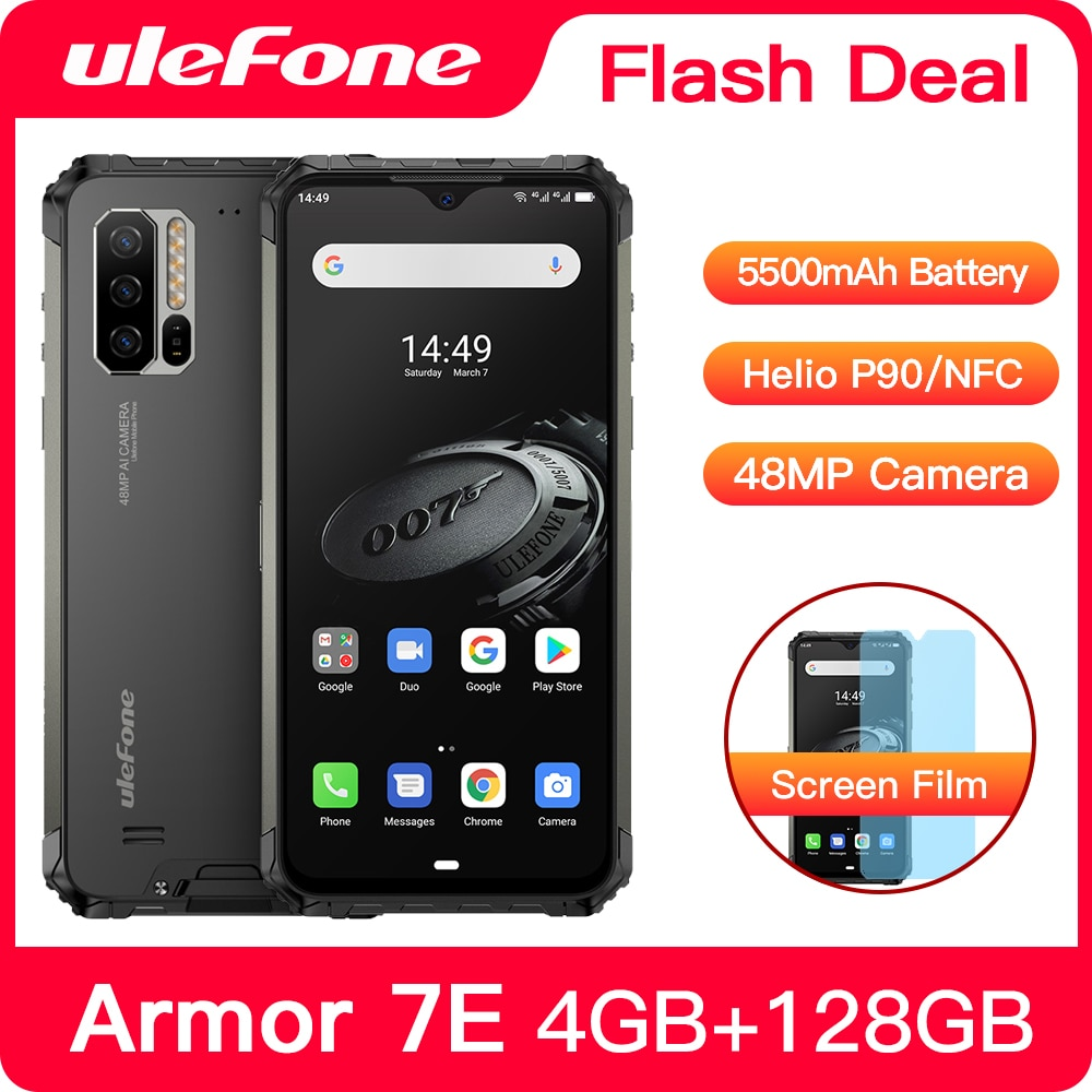 Ulefone Power 7E Водонепроницаемый прочный смартфон Android 10 4 Гб + 128 ГБ NFC Helio P90 IP68 5G WI-FI 5500 мАч сотовый телефон мобильный телефон