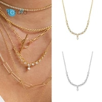 925 silver chain luxury crystal mujer water droplets choker pendant necklace for women girls wedding birthday gift jewelry