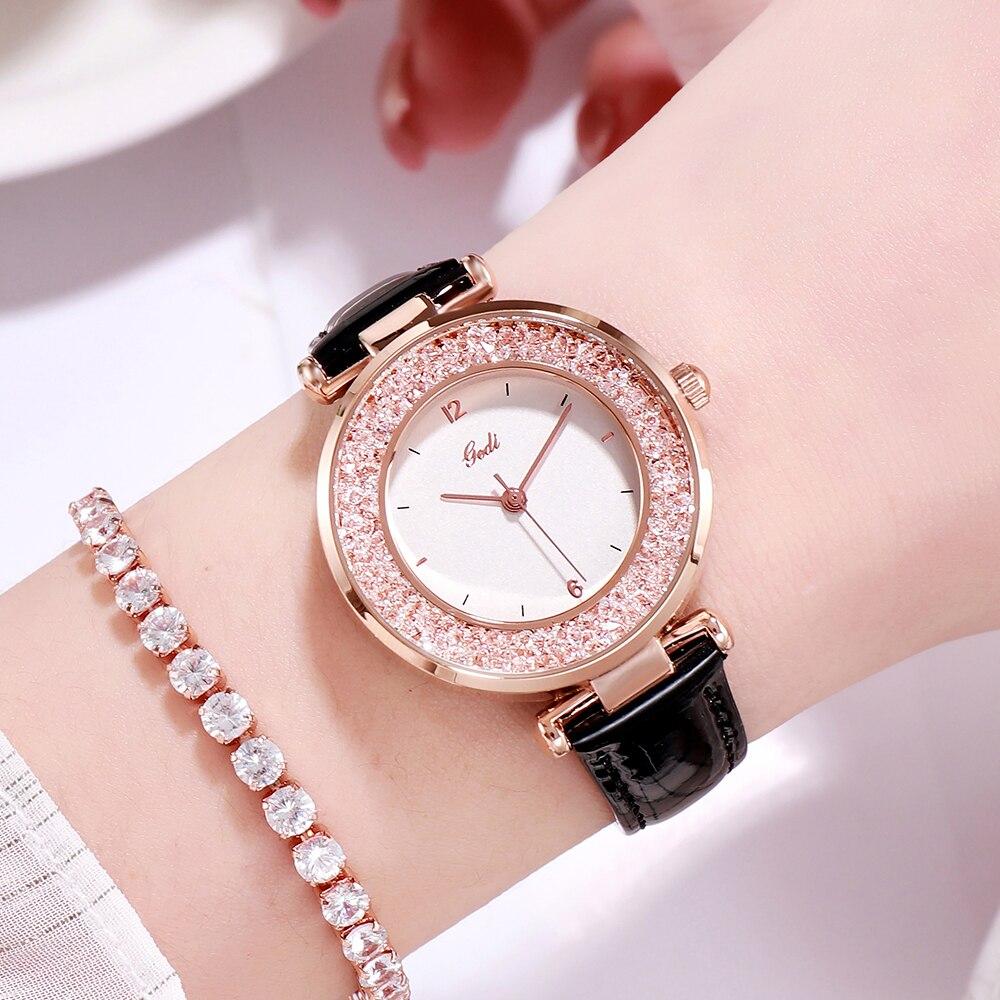 Fashion Crystal Women Watches Top Brand GEDI Luxury Waterproof Leather Women's Quartz Wristwatch Rel