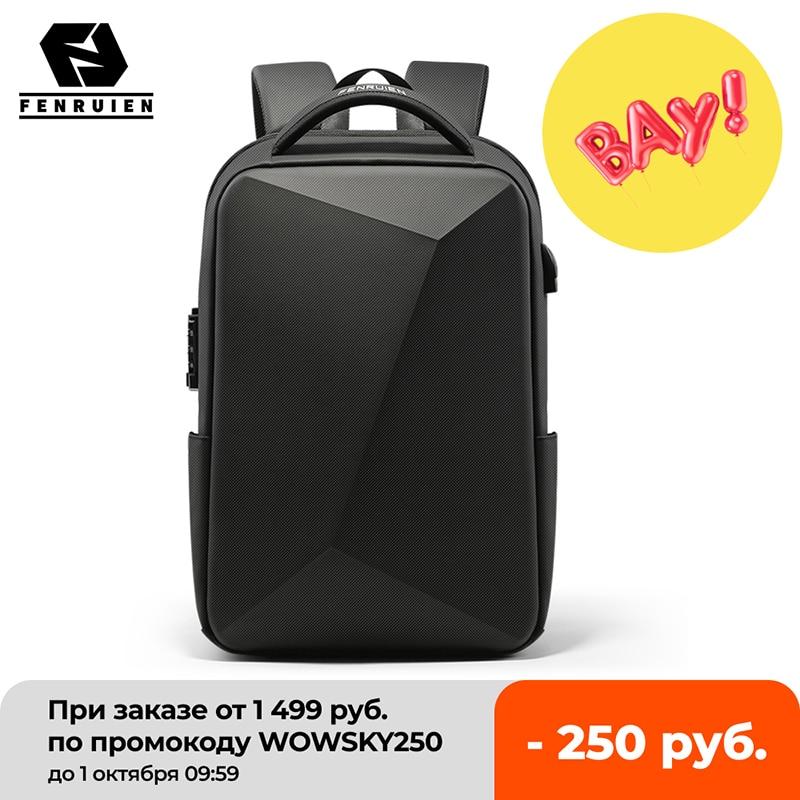 Fenruien العلامة التجارية محمول على ظهره مكافحة سرقة مقاوم للماء حقائب مدرسية USB شحن الرجال الأعمال حقيبة سفر على ظهره تصميم جديد