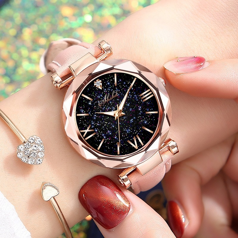 Fashion Roman Scale Watch Women's Quartz Diamond Wristwatch Stars Little Point Frosted Belt Watch Me