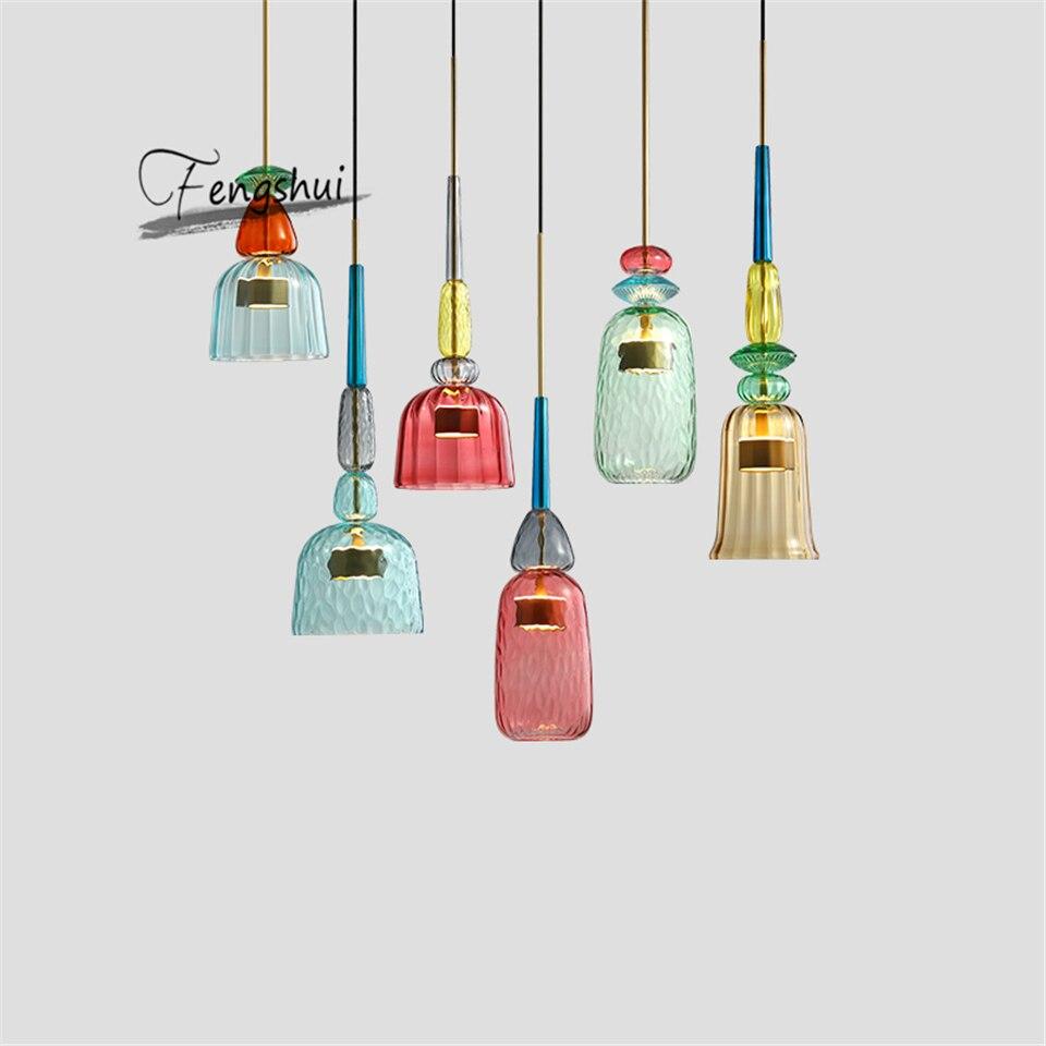 Modernas luces colgantes de vitral, lámpara colgante colorida, lámpara colgante de Loft para comedor, cocina, accesorios para el hogar, decoración Industrial