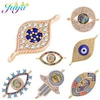 juya diy micro pave blue crystals enamel greek turkish evil eye charm connector accessories for women bracelets earrings making