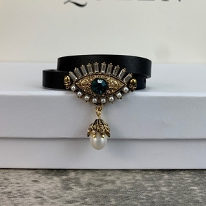 2021 Vintage Gold Color Steam Punk Hip-Hop Design Jewelry Demon Eye Black Leather Bracelet Big Bangle Choker Screw Top Hot Brand