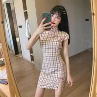 2020 new fashion retro temperament ladies short sleeved pink plaid chinese style improved cheongsam waist sexy dress