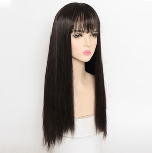 LM Cosplay Long Straight Black/Brown Synthetic Wigs with Bangs for Women Lolita Daily Party Heat Resistant Fibre
