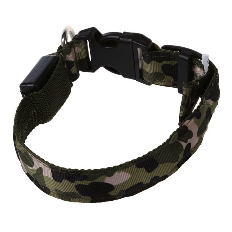 GTBL Green L, Pets Dog LED Leopard Night Safety Collar Adjustable