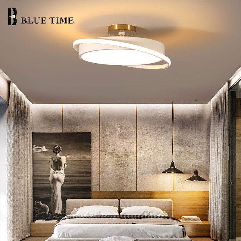 تركيبات الإضاءة الحديثة السقف ضوء أسود أبيض المعادن الجسم Led السقف مصابيح للمنزل المعيشة غرفة نوم غرفة الطعام المطبخ