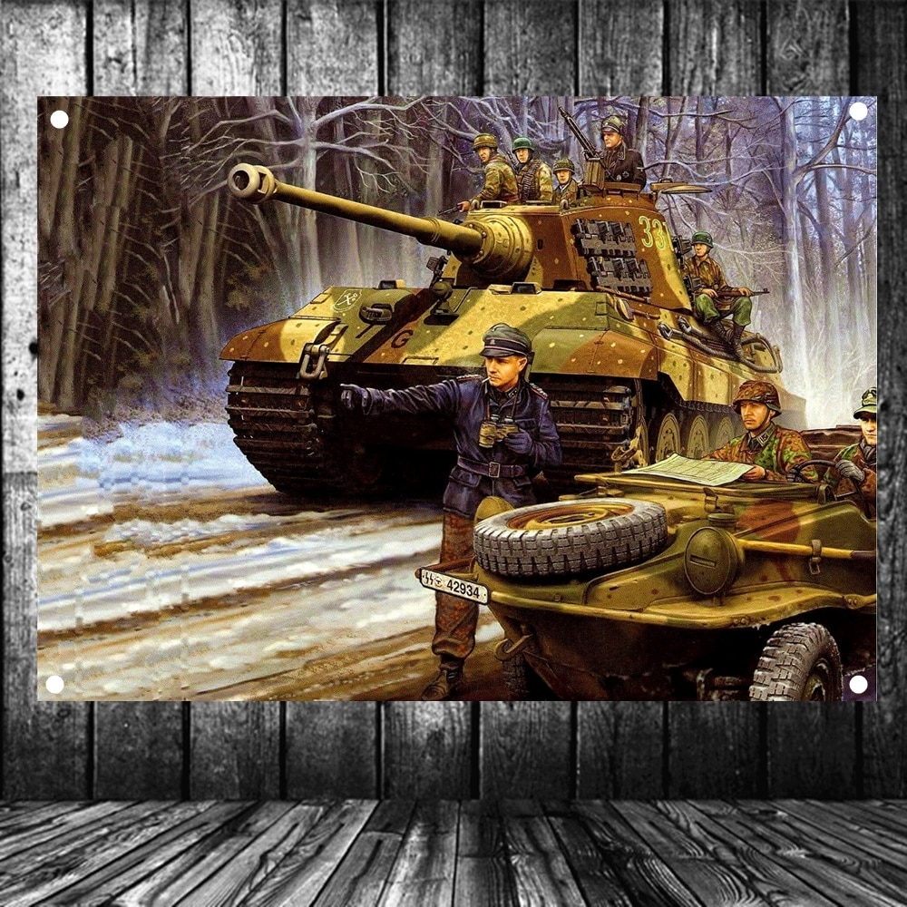 WW2 GER kaplan tankı askeri posterler kıdemli sanat su geçirmez kumaş bayrak afiş goblen duvar duvar sanatı eski dekor döşeme