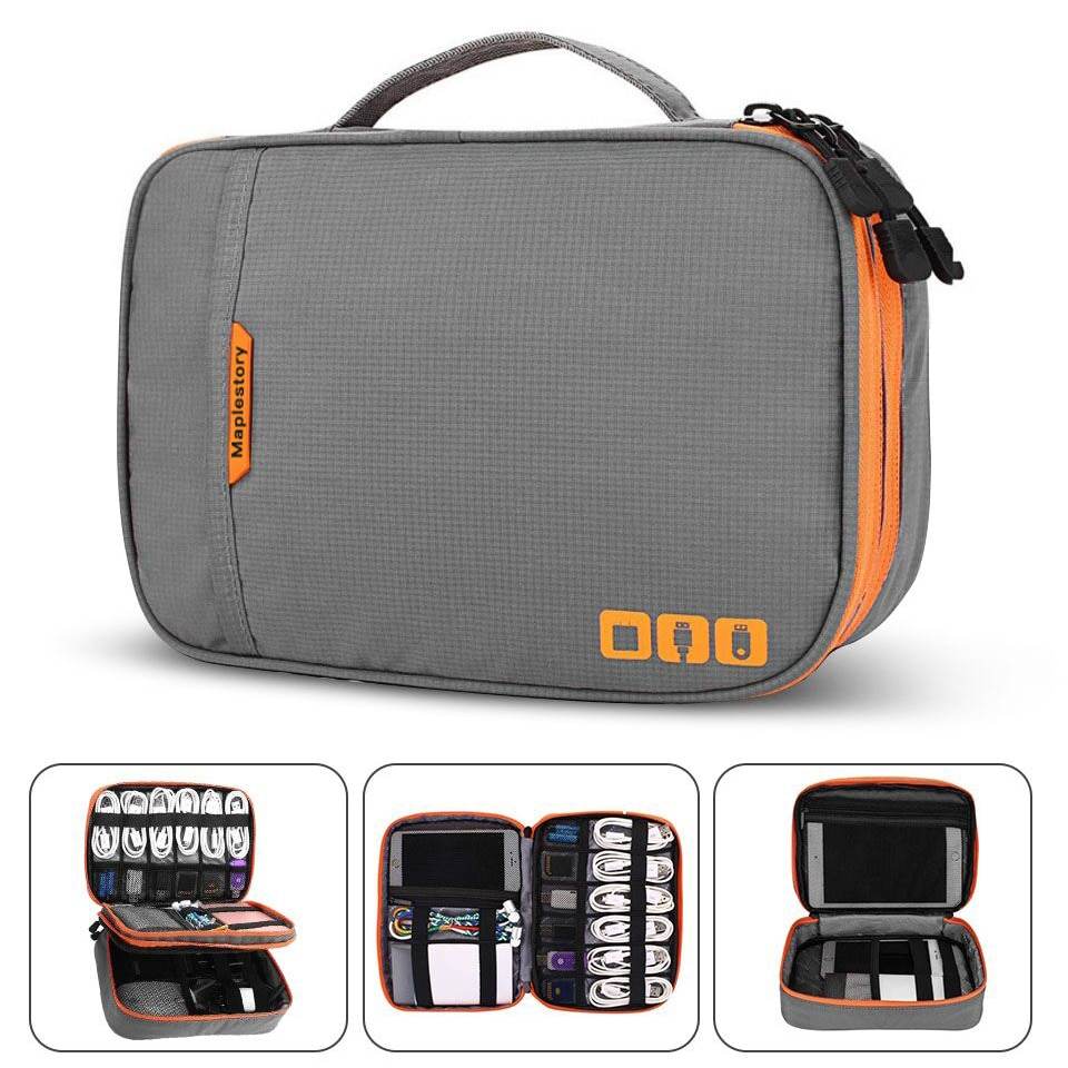 Double Layer Electronic Accessories Thicken Cable Storage bag Portable Case for i Pad mini,Hard Driv