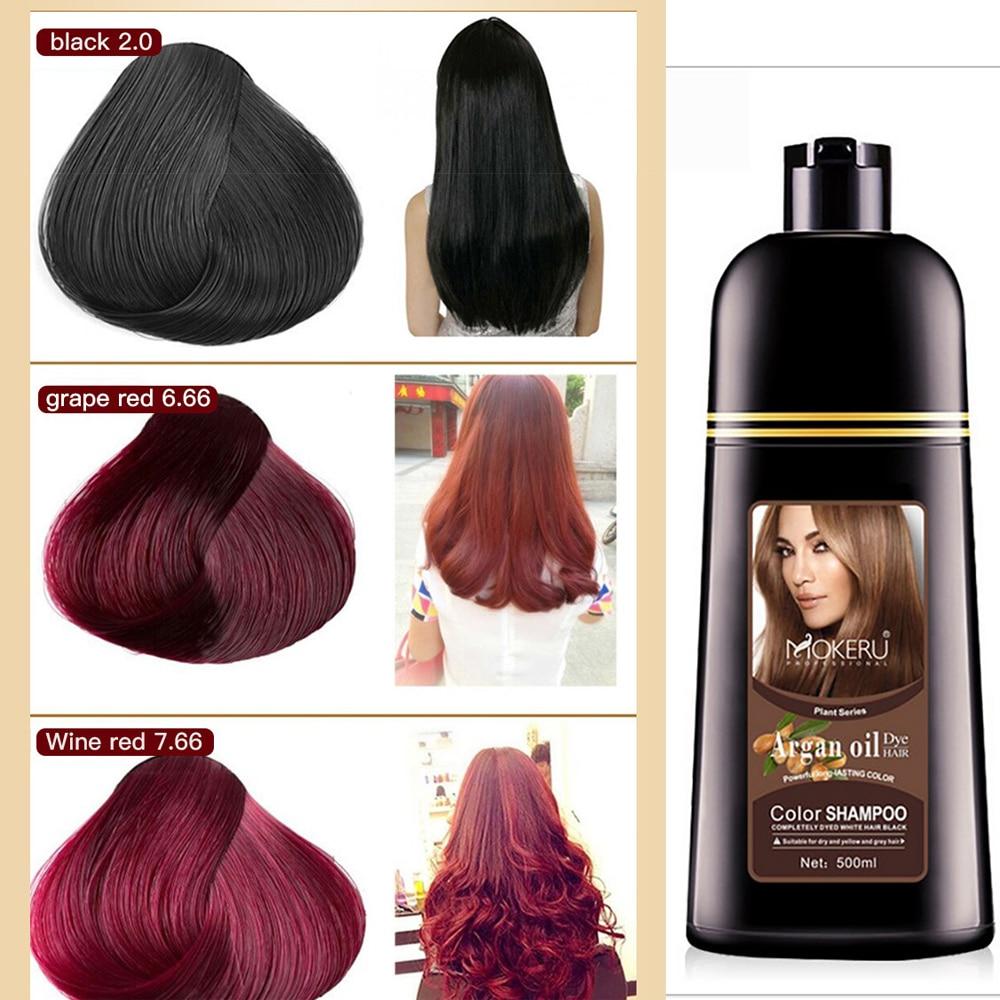 AliExpress - 500ml Plant Extract Color Shampoo Argan Oil Hair Dye Permanent Long Lasting Hair Dye Shampoo For Men Women Professional Hair Dye