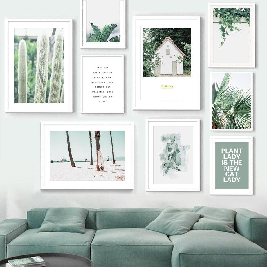 Банан, пальмовый лист, зеленое растение, искусство, природа, настенная живопись, холст, скандинавские постеры и печать, Картина Настенная дл...