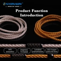 syrnarn 8 strand braided headphone wire 26awg 7n occ goldsilver plated 392 cores 3 5 4 4mm line for diy upgrade eearphone cable