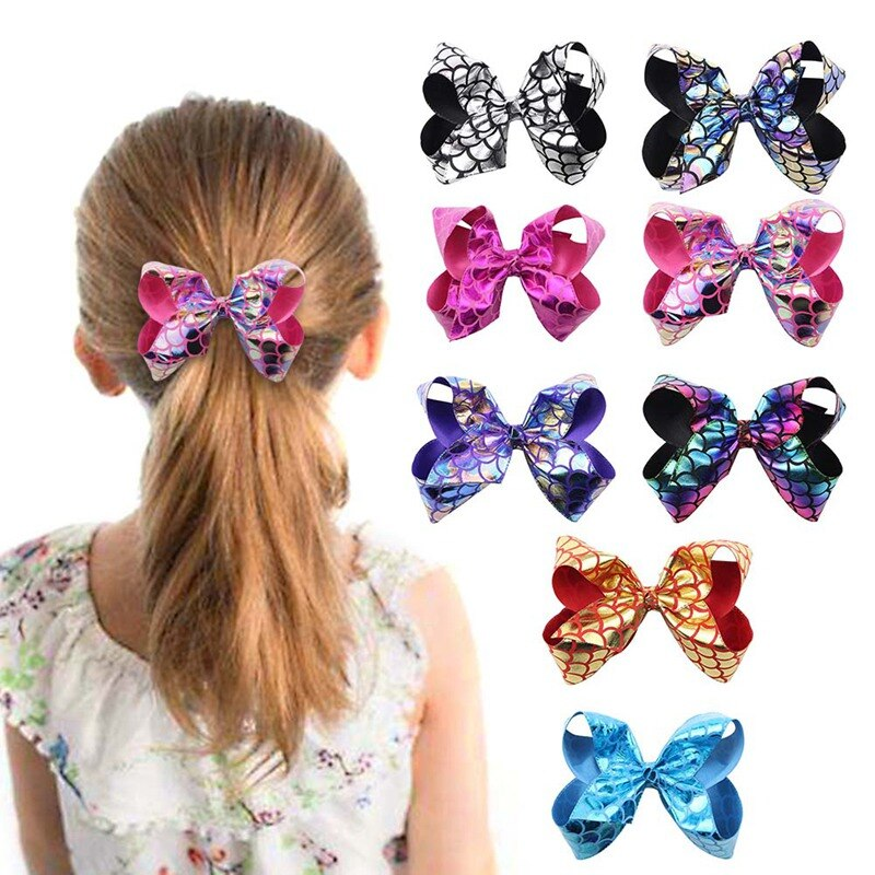 1Pc Sweet Children Girls Colorful Sequin Hair Bows Mermaid Sequins Clips For Baby Princess Party Accessories