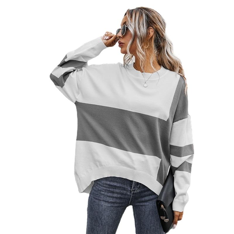 Women Long Sleeve O-Neck Sweater Color Block Striped Irregular Hem Jumper Tops enlarge