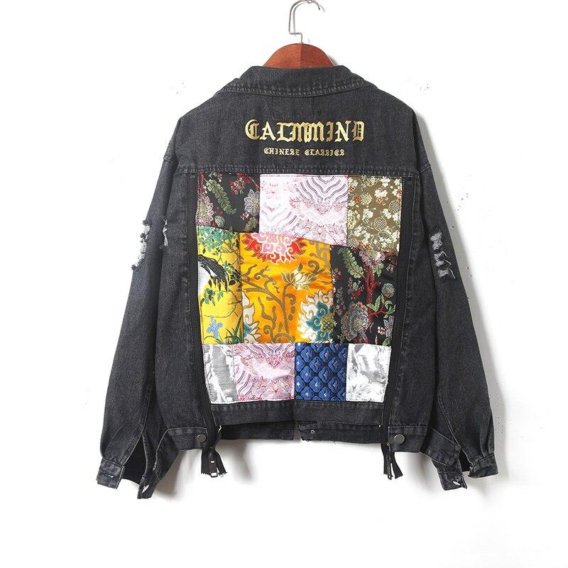 Indústria pesada carta bordado impressão remendo splice buraco denim jaqueta plus size feminino streetwear estilo hip hop casaco jeans feminino