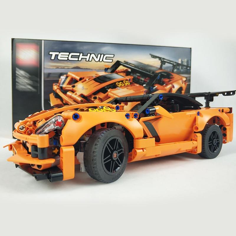 Bloques de construcción Decool 13384 593 Uds. Moc Chevrolet Corvette Zr1 13384 súper coche de carreras modelo Technic niños juguetes ladrillos