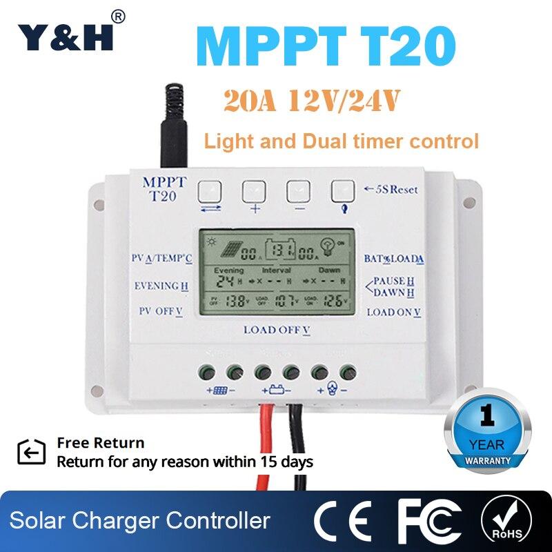 شاحن بطارية MPPT 12V/24V ، 20A ، وحدات تحكم الشحن ، شاشة LCD ، لوحة شمسية منزلية ، منظم PV ، بالجملة