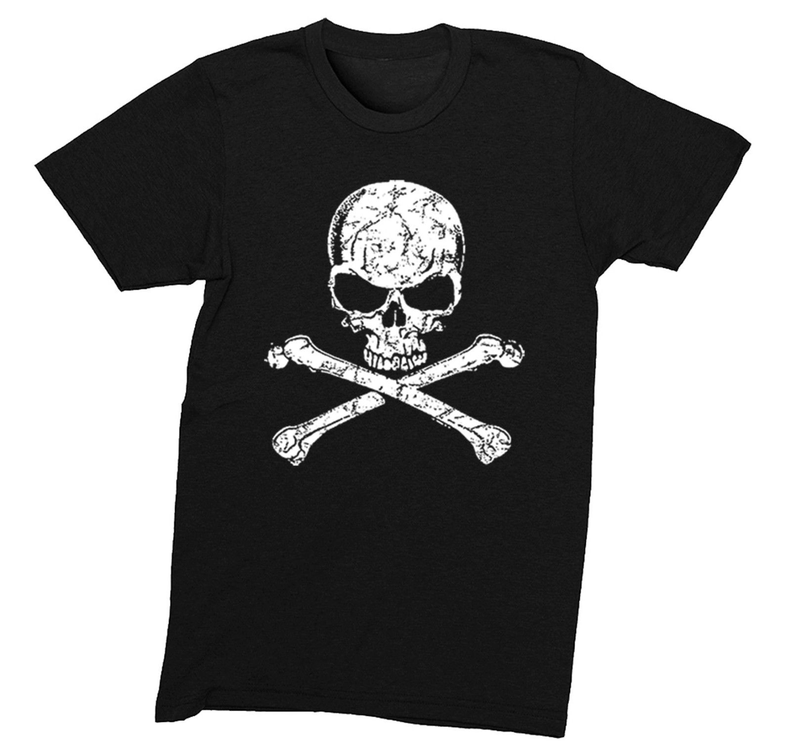 Herren Distressed Weiß Totenkopf Pirate Jolly Roger Gaspar T-Shirt